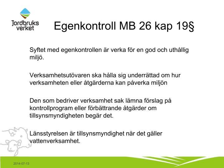 Egenkontroll MB 26 kap 19§