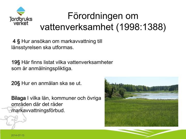 Förordningen om vattenverksamhet (1998:1388)