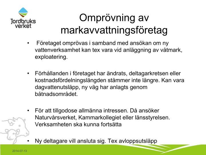 Omprövning av markavvattningsföretag