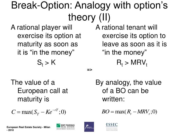 Break-Option: Analogy with option's theory (II)