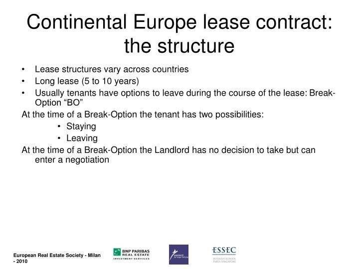 Continental Europe lease contract: the structure