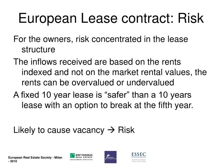European Lease contract: Risk