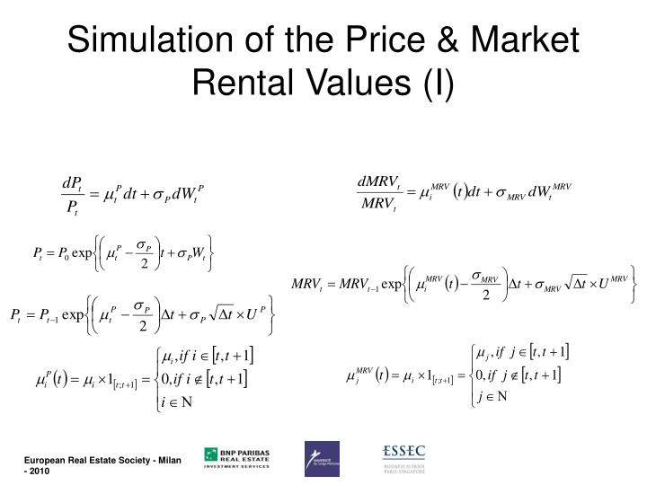 Simulation of the Price & Market Rental Values (I)