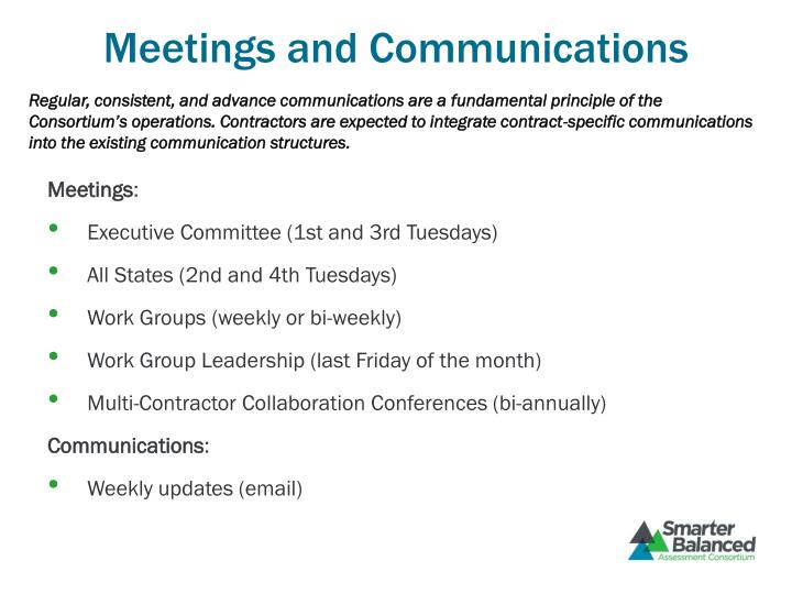 Meetings and Communications