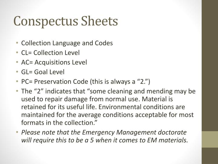Conspectus Sheets