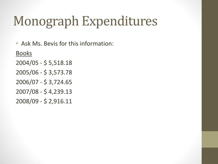 Monograph Expenditures