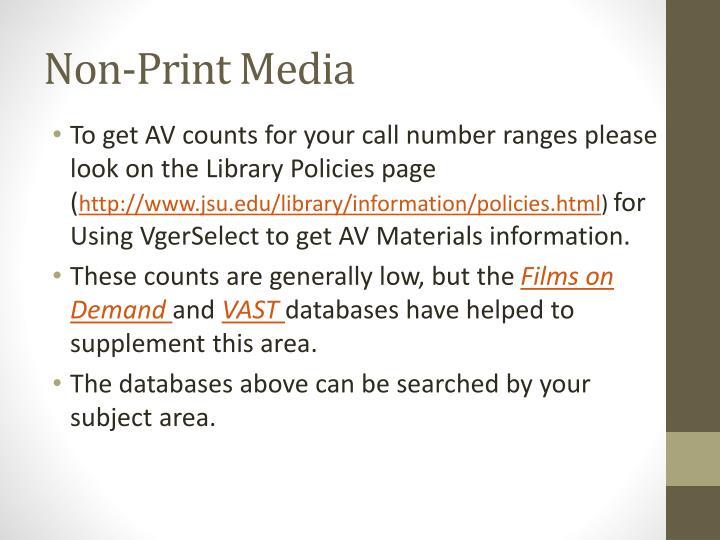 Non-Print Media