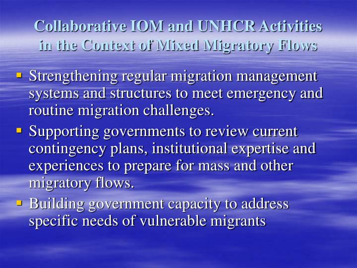 Collaborative IOM and UNHCR Activities