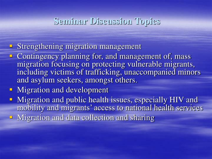 Seminar Discussion Topics