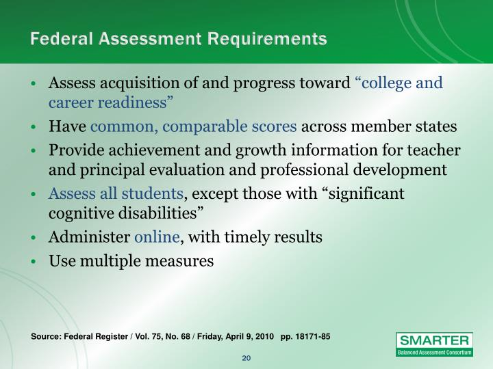 Federal Assessment Requirements