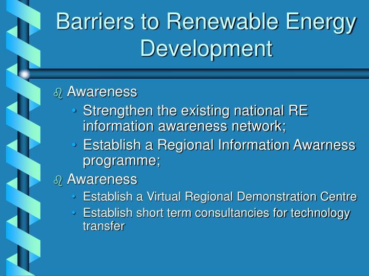 Barriers to Renewable Energy Development