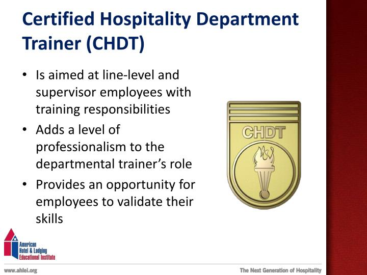 Certified Hospitality Department Trainer (CHDT)