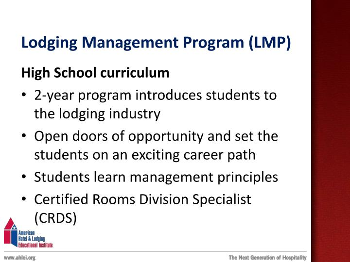 Lodging Management Program (LMP)