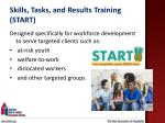 skills tasks and results training start