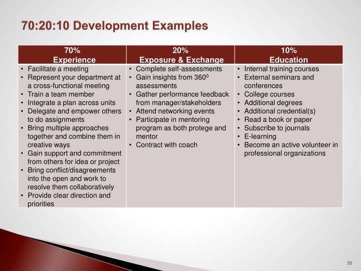 70:20:10 Development Examples