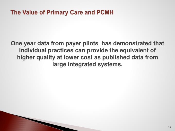 The Value of Primary Care and PCMH