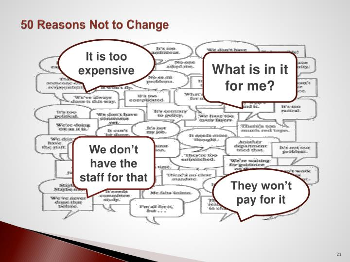 50 Reasons Not to Change