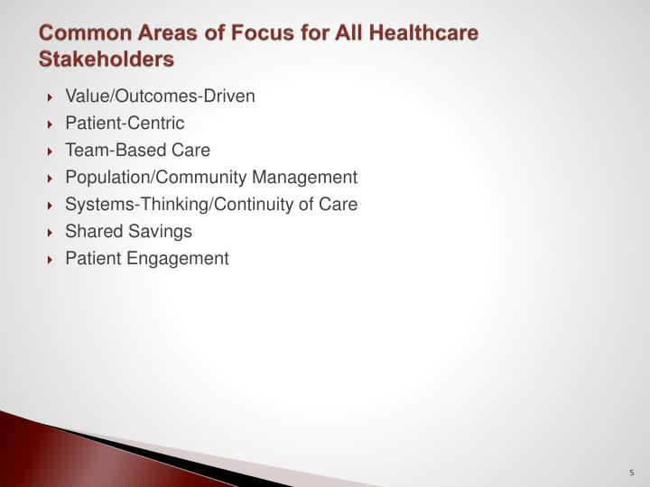 Common Areas of Focus for All