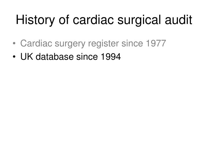 History of cardiac surgical audit1