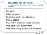 benefits for libraries a unique and affordable way to acquire quality content