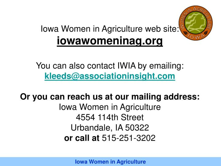 Iowa Women in Agriculture web site: