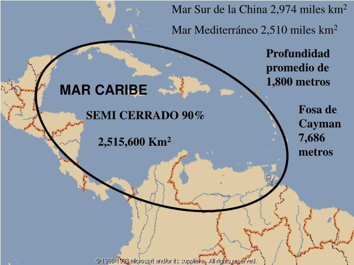 Mar Sur de la China 2,974 miles km