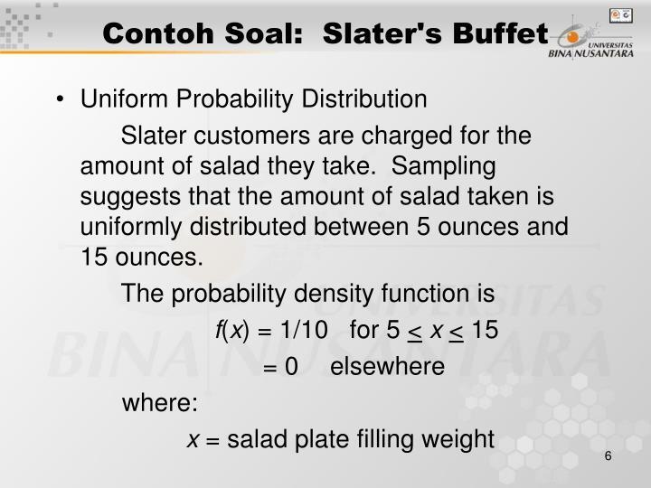 Contoh Soal:  Slater's Buffet