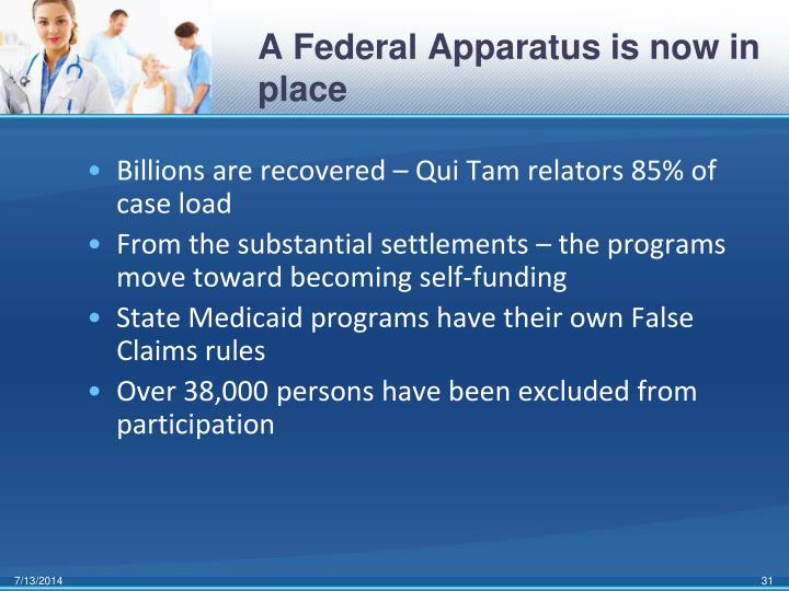 A Federal Apparatus is now in place