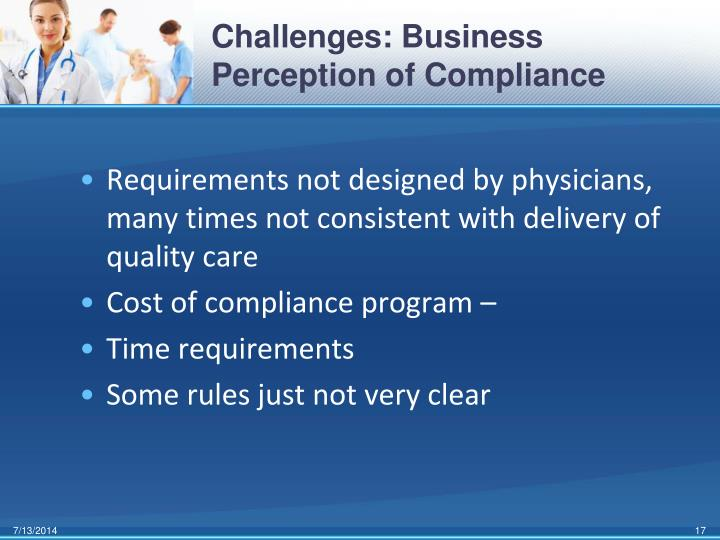 Challenges: Business Perception of Compliance