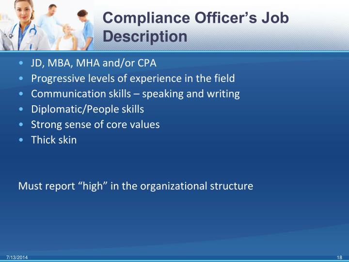 Compliance Officer's Job Description