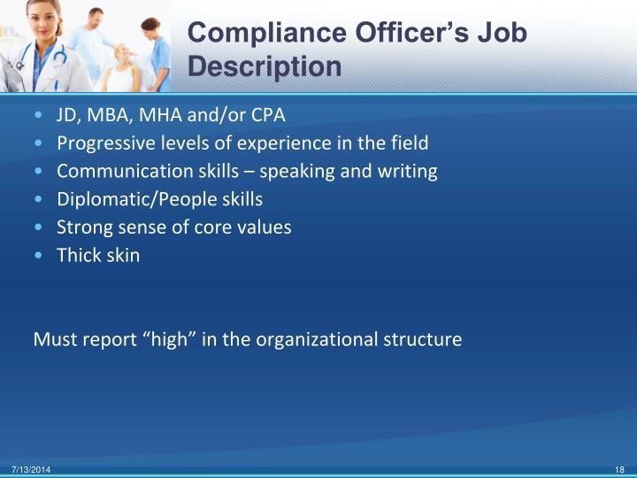 Compliance Officer's Job Description