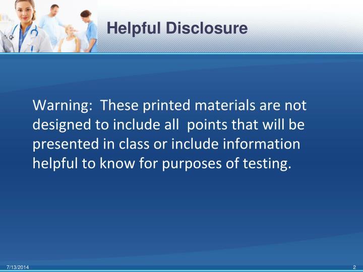 Helpful Disclosure