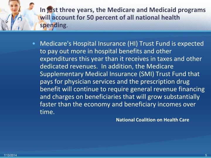 In just three years, the Medicare and Medicaid programs will account for 50 percent of all national health spending