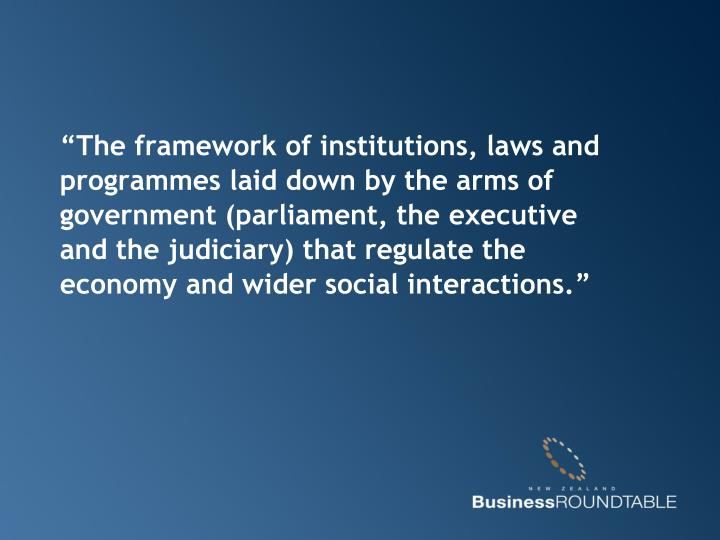 """The framework of institutions, laws and programmes laid down by the arms of government (parliamen..."