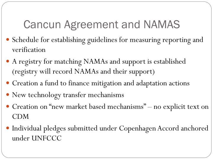 Cancun Agreement and NAMAS