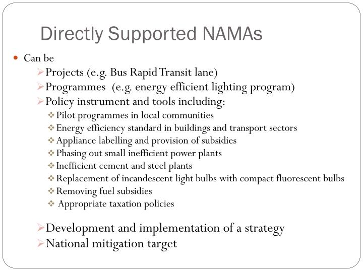 Directly Supported NAMAs