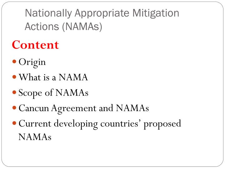 Nationally appropriate mitigation actions namas