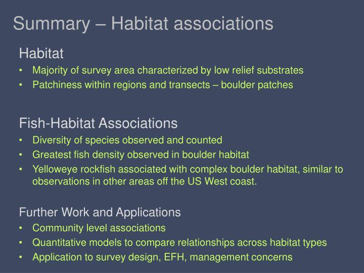 Summary – Habitat associations