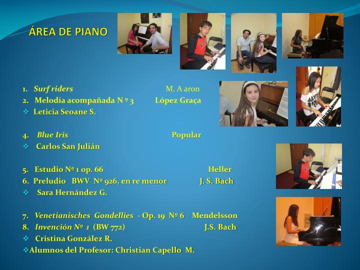 ÁREA DE PIANO