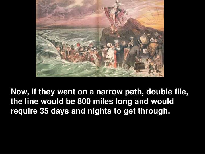 Now, if they went on a narrow path, double file, the line would be 800 miles long and would require 35 days and nights to get through.