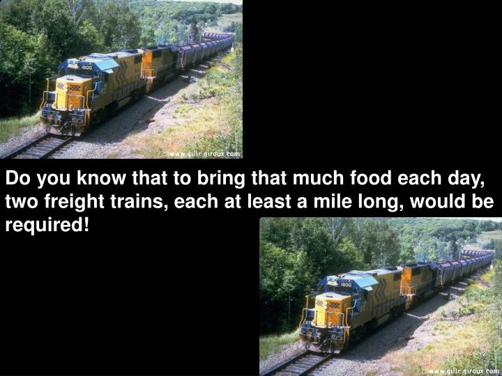 Do you know that to bring that much food each day, two freight trains, each at least a mile long, would be required!