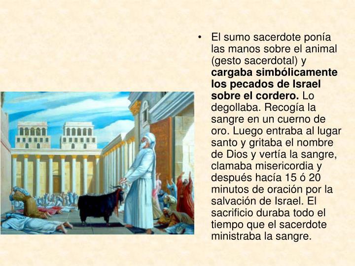 El sumo sacerdote ponía las manos sobre el animal (gesto sacerdotal) y