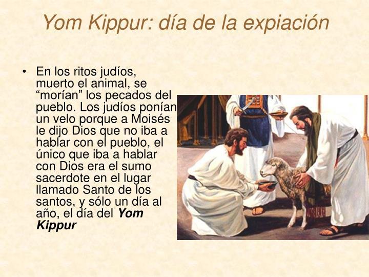 """En los ritos judíos, muerto el animal, se """"morían"""" los pecados del pueblo. Los judíos ponían un velo porque a Moisés le dijo Dios que no iba a hablar con el pueblo, el único que iba a hablar con Dios era el sumo sacerdote en el lugar llamado Santo de los santos, y sólo un día al año, el día del"""