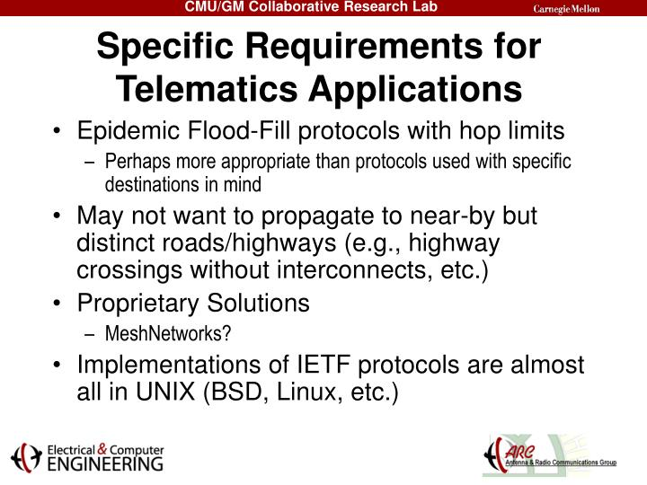 Specific Requirements for Telematics Applications