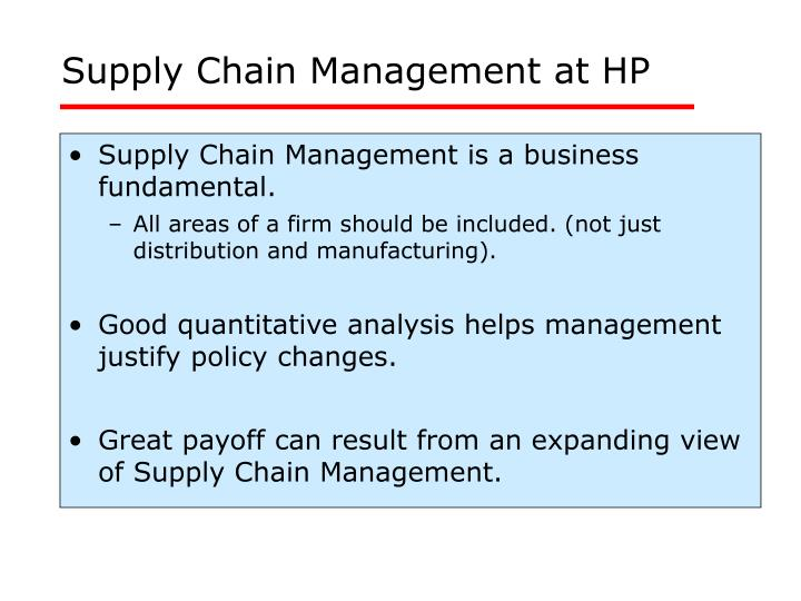 Supply Chain Management at HP