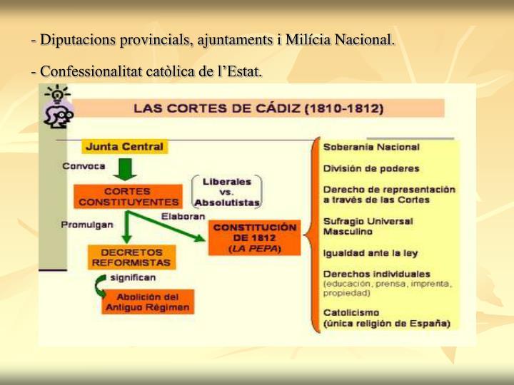 - Diputacions provincials, ajuntaments i Milícia Nacional.