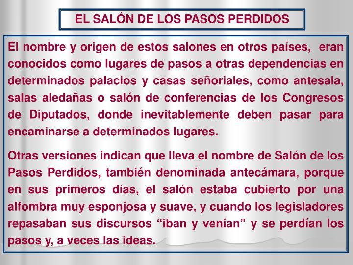 EL SALÓN DE LOS PASOS PERDIDOS