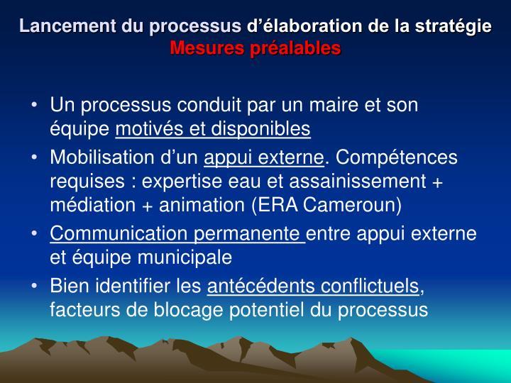 Lancement du processus