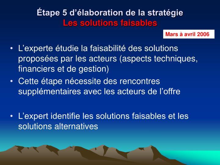 Étape 5 d'élaboration de la stratégie