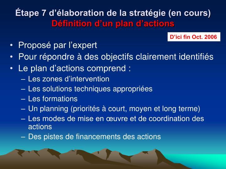 Étape 7 d'élaboration de la stratégie (en cours)